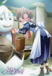 1girl apron brown_hair folded_ponytail hayate_no_gotoku! maid maid_apron maid_headdress maria_(hayate_no_gotoku!) neckerchief red_eyes scarf shoes smile snow snowman solo