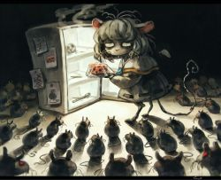 ... 1girl animal_ears bone buck_teeth capelet cheese drooling koto_inari messy_hair mouse mouse_ears mouse_tail nazrin red_eyes refrigerator ribbon_trim saliva skull solo spoken_ellipsis surrounded tail touhou whiskers