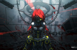 1girl bai_yemeng blood bound bound_arms bound_wrists breasts chains cuffs gatling_gun gun laser laser_sight long_hair mask minigun one_eye_covered original pixiv_fantasia pixiv_fantasia_t red_hair shackles solo torn_clothes weapon yellow_eyes