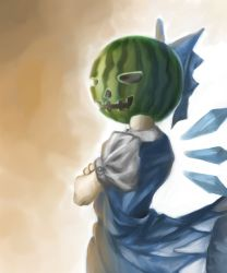 1girl blue_dress bow cirno commentary_request crossed_arms dress food fruit hair_bow halloween halloween_costume ice ice_wings jack-o'-lantern jack-o'-lantern_(cosplay) melon nagayo puffy_short_sleeves puffy_sleeves shirt short_sleeves solo touhou wings