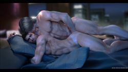 2boys 3d anal ass bara chris_redfield happy_sex highres leon_kennedy male_focus multiple_boys naughty_face nude penetration resident_evil sex smirk source_filmmaker yaoi