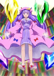 1girl blush book bookshelf bow crescent dress female floating glyph hair_bow hat jagabutter long_hair open_mouth outstretched_arms patchouli_knowledge purple_eyes purple_hair solo spread_arms touhou