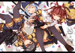 3girls and_dokari animal_ears animal_hat bangs beretta_92 between_legs black_hair black_legwear blazer blue_hair blue_skirt camouflage chibi_inset closed_mouth dragunov_svd drooling dual_wielding eyebrows_visible_through_hair eyes_closed fim-92_stinger fox_ears fox_hat frown gun hair_between_eyes handgun hat holding holding_gun holding_weapon jacket jitome kneeling letterboxed long_sleeves lying mouth_hold multiple_girls on_back open_clothes open_jacket open_mouth original pleated_skirt red_eyes red_hair rifle rocket_launcher sidelocks skirt sleeping smile sniper_rifle thighhighs thighs trigger_discipline uniform upside-down weapon yellow_eyes