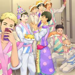6+boys ^_^ animal_hat black_hair blonde_hair brown_eyes brown_hair cellphone christophe_giacometti covering_face cst door double_v eyes_closed green_eyes hamster_hat hat ji_guang-hong katsuki_yuuri lee_seung-gil leo_de_la_iglesia male_focus multiple_boys open_mouth otabek_altin phichit_chulanont phone seiza self_shot silver_hair sitting smartphone smile squatting v viktor_nikiforov yuri!!!_on_ice yuri_plisetsky