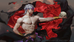 1boy abs blurry depth_of_field dio_brando hand_on_hip headband holding jojo_no_kimyou_na_bouken krabat male_focus muscle outstretched_arm profile realistic red_eyes scar shirtless silver_hair skull solo stitched upper_body watermark web_address wrist_cuffs