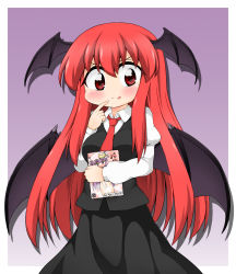 >:) >:o 1girl :o :p bat_wings blush book book_hug breasts cameo censored commentary_request cowboy_shot crescent crescent_hair_ornament dress_shirt female_pervert gradient gradient_background hair_ornament hat head_wings highres holding holding_book juliet_sleeves koakuma long_hair long_sleeves manga_(object) mob_cap necktie patchouli_knowledge pervert pornography puffy_sleeves purple_background purple_hair shirt simple_background skirt skirt_set suwa_yasai tongue tongue_out touhou vest wings