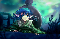 1girl animal_ears blue_eyes blue_hair bubble floating_hair head_fins highres japanese_clothes kimono light_particles looking_at_viewer mermaid monster_girl obi open_mouth plant sash short_hair smile touhou underwater wakasagihime wet wet_clothes