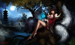 1girl ahri animal_ears anklet bare_legs barefoot black_hair breasts facial_mark full_moon japanese_clothes jewelry kimono large_breasts league_of_legends long_hair magic moon nature robe tail yellow_eyes