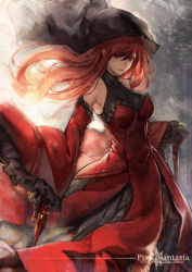 1girl black_gloves detached_sleeves dress gloves gun handgun holding_gun holding_weapon hood long_hair looking_at_viewer pixiv_fantasia pixiv_fantasia_t red_dress red_eyes red_hair red_queen_(pixiv_fantasia) revolver ryuuzaki_ichi solo weapon
