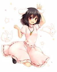 1girl animal_ears arm_up black_hair black_shoes blouse blush bunny bunny_ears carrot_necklace clenched_hand frilled_skirt frills full_body inaba_tewi jumping looking_at_viewer nnyara open_mouth pink_skirt puffy_short_sleeves puffy_sleeves red_eyes ribbon-trimmed_skirt ribbon-trimmed_sleeves ribbon_trim short_hair short_sleeves simple_background skirt skirt_set smile solo star touhou white_background