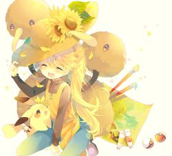 1girl blonde_hair blush chuchu_(pokemon) doduo dress eyes_closed flower full_body hat highres holding holding_hat long_hair nekoto_rina open_mouth paint paintbrush pants pikachu poke_ball pokemon pokemon_(creature) pokemon_special ponytail sitting smile solo sun_hat sunflower very_long_hair white_background yellow_(pokemon)