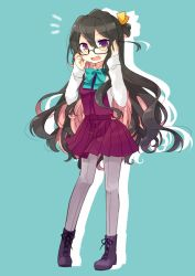 1girl black-framed_eyewear black_hair blue_background blue_bow blue_bowtie boots bow bowtie brown_eyes cross-laced_footwear dress fang glasses grey_legwear kantai_collection lace-up_boots long_hair long_sleeves multicolored_hair naganami_(kantai_collection) nagasioo open_mouth pantyhose pink_hair purple_boots purple_dress shirt simple_background sleeveless sleeveless_dress smile solo white_shirt
