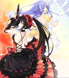 2girls :d antique_firearm armpits asymmetrical_hair back back-to-back bangs bare_shoulders belly_chain black_dress black_hair blue_eyes blue_hair blunt_bangs blush bow breasts choker clock clock_eyes crescent crescent_hair_ornament cross-laced_clothes date_a_live detached_sleeves dress dress_lift earrings elbow_gloves female finger_on_trigger firelock flintlock floating_hair flower frilled_dress frills from_side gloves gothic_lolita gradient gradient_background gun hair_flower hair_ornament hairband half-closed_eyes hand_up handgun happy heterochromia highres hime_cut holding holding_gun holding_weapon hoop_earrings instrument izayoi_miku jewelry lace lace-trimmed_dress layered_dress light_blue_hair light_particles lolita_fashion lolita_hairband long_dress long_hair looking_at_viewer looking_back medium_breasts multiple_girls music musical_instrument official_art open-back_dress open_mouth outline parted_lips piano piano_keys playing_instrument puffy_short_sleeves puffy_sleeves red_dress red_eyes red_ribbon ribbon ribbon_trim scan short_sleeves sideboob sidelocks simple_background skirt_hold sleeves_past_wrists smile symbol-shaped_pupils tokisaki_kurumi tsunako twintails uneven_twintails very_long_hair weapon white_gloves yellow_bow yellow_dress yellow_eyes