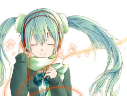 1girl dorui eyes_closed green_hair hatsune_miku headphones long_hair musical_note scarf simple_background smile solo twintails vocaloid white_background