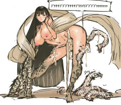 1girl bangs bent_over black_hair blunt_bangs blush breasts eldritch_abomination fundoshi highres large_breasts long_hair nameo_(judgemasterkou) nipples original rope shimenawa smile solo suggestive_fluid topless translation_request very_long_hair what
