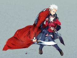 1boy 1girl archer black_hair fate/stay_night fate_(series) kanshou_&_bakuya nakagawa_waka sword tears thighhighs tohsaka_rin two_side_up weapon white_hair