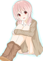 1girl boots coat covering covering_crotch highres leg_hug legs_together long_hair low_twintails morinaoekaki open_clothes open_coat pink_hair red_eyes simple_background sitting solo twintails yoshikawa_tomoko yuru_yuri