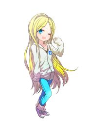 1girl blonde_hair blue_eyes gelbooru gelbooru-tan hoodie jacket jeans long_hair smile sneakers tagme wink