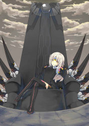 black_gloves black_skirt boots code:_nemesis_(elsword) elsword eve_(elsword) gloves long_hair ribbon shironekojr sitting skirt thigh_boots thighhighs white_ribbon yellow_eyes