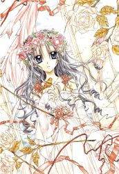 absurdres bare_shoulders bird bridal_gauntlets cloth dress drill_hair dutch_angle flower full_moon_wo_sagashite grey_hair highres jewelry kouyama_mitsuki long_hair looking_at_viewer necklace official_art purple_eyes ribbon rose solo tanemura_arina traditional_media wavy_hair white_dress white_rose wreath