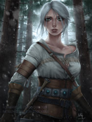 1girl breasts ciri corset dagger deviantart_username facial_scar forest freckles gloves green_eyes highres leather leather_gloves looking_at_viewer medium_breasts mirco_cabbia nature patreon_username scar sheath sheathed short_hair signature silver_hair snowing solo sword the_witcher_3 watermark weapon web_address