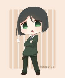 1boy black_hair blush bob_cut chibi fate/zero fate_(series) green_eyes mortl0_0le necktie solo sweater twitter_username waver_velvet