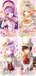 2boys 2girls :d add_(elsword) aisha_(elsword) black_hair bonnet bow bridal_gauntlets brooch cherry_blossoms cravat cup detached_collar detached_sleeves elsword eve_(elsword) flower formal gloves hat jewelry long_hair looking_at_viewer multiple_boys multiple_girls myoya open_mouth orange_bow orange_rose petals pink_bow plate purple_eyes purple_hair purple_rose raven_(elsword) rose smile striped striped_bow suit teacup top_hat white_gloves white_hair white_hat yellow_eyes