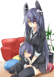 2girls absurdres alternate_hair_length alternate_hairstyle black_legwear blue_hair checkered checkered_necktie dress_shirt eyepatch hair_ornament hand_on_another's_head heart highres if_they_mated kantai_collection long_hair looking_at_viewer mother_and_daughter multiple_girls necktie open_mouth resized revision saku_(kudrove) shirt short_hair sitting smile tenryuu_(kantai_collection) thighhighs yellow_eyes younger