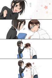 1boy 1girl black_hair black_shirt brown_hair comic commentary_request folder glasses hasebe_yutaka highres hoshina_satoya open_mouth sad servant_x_service shirt short_hair silent_comic smile star white_shirt yamagami_lucy