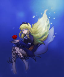 1girl barefoot blonde_hair blue_eyes braid breasts dress flower hairband long_hair rose shirley_fennes tales_of_(series) tales_of_legendia water