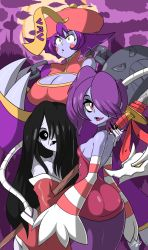 3girls ass bigdead93 black_hair black_sclera blue_skin blush blush_stickers breasts chinese_clothes choker claws cleavage cleavage_cutout crossover detached_sleeves flipped_hair hair_over_one_eye highres hisako_(killer_instinct) japanese_clothes jiangshi killer_instinct kimono large_breasts lei_lei leviathan_(skullgirls) long_hair multiple_crossover multiple_girls naginata off_shoulder ofuda pale_skin polearm poorly_drawn purple_hair short_hair side_ponytail sideboob skullgirls sleeves_past_wrists small_breasts squigly_(skullgirls) stitched_mouth stitches striped_sleeves trait_connection vampire_(game) weapon wide_hips yellow_eyes zombie