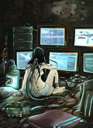 1girl ass barefoot black_hair breasts cable computer cyberpunk cyborg dirty from_behind highres long_hair messy_hair monitor original panties rodethos sideboob sitting soles solo topless underwear