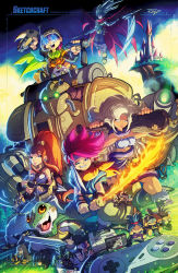 3boys 3girls 90s ayla_(chrono_trigger) bow_(weapon) breasts cape castle character_doll character_request chrono_trigger cleavage cliff club controller cover crono crossbow doll everyone flaming_sword frog game_cartridge game_console game_controller game_cover glasses grass headband helmet highres kaeru_(chrono_trigger) looking_at_viewer lucca_ashtear magus marle monster_boy multiple_boys multiple_girls nintendo ponytail rob_duenas robo robot scarf scythe smile spiked_hair square_enix stuffed_toy super_nintendo sword video_game weapon