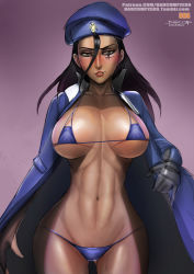 1girl ana_(overwatch) badcompzero bikini blue_bikini blush breasts brown_hair dark_skin large_breasts lips long_hair navel overwatch smile solo swimsuit thighs wide_hips younger
