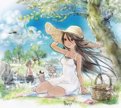 2boys 2girls agnes_oblige arm_up blanket bravely_default:_flying_fairy bravely_default_(series) brown_eyes brown_hair dragonfly dress edea_lee hand_on_head hat highres ikusy insect long_hair lying multiple_boys multiple_girls official_art outdoors picnic_basket ringabel sitting splashing sun_hat sundress tan tanline tiz_oria water yokozuwari