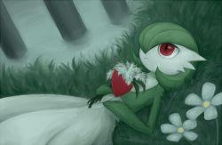 artist_request expressionless flower gardevoir green_hair hair_over_one_eye lying nintendo pokemon pokemon_(game) red_eyes solo