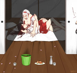 2girls absurdres akagi_(kantai_collection) blush breast_sucking breasts brown_hair bucket drunk eyes_closed hairband hand_on_another's_shoulder hand_on_ass highres kantai_collection large_breasts long_hair multiple_girls nipples one_eye_closed open_mouth petals pillow sen_(alshy379) shoukaku_(kantai_collection) silver_hair yuri