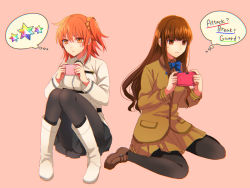 2girls ahoge black_legwear boots brown_eyes brown_hair cellphone closed_mouth fate/extra fate/grand_order fate_(series) fujimaru_ritsuka_(female) full_body gameplay_mechanics handheld_game_console holding kishinami_hakuno_(female) long_sleeves miniskirt multiple_girls orange_eyes orange_hair pantyhose phone saint_quartz school_uniform scrunchie shidomura short_hair side_ponytail simple_background skirt smartphone sweatdrop thought_bubble uniform