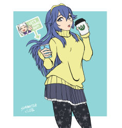 2girls artist_name blue_eyes blue_hair casual cellphone coffee coffee_cup english eyes_closed female_my_unit_(fire_emblem:_kakusei) fire_emblem fire_emblem:_kakusei headband long_hair lucina multiple_girls my_unit_(fire_emblem:_kakusei) open_mouth pantyhose phone print_legwear samanator_club signature skirt smartphone smile star star_print twintails white_hair