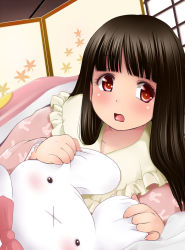 1girl :x black_hair blush brown_eyes bunny_print commentary_request futon hime_cut houraisan_kaguya kozue_akari long_sleeves looking_at_viewer open_mouth pajamas red_eyes solo stuffed_animal stuffed_bunny stuffed_toy touhou under_blanket