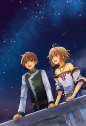 1boy 1girl brown_eyes brown_hair detached_sleeves dress feng_you flat_chest green_eyes hand_holding open_mouth outdoors sakura_hime short_hair sky star_(sky) starry_sky strapless_dress tsubasa_chronicle xiaolang