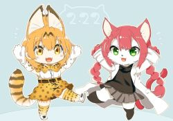 2girls animal_ears animal_tail artist_request cat cat_busters character_request crossover furry green_eyes kemono_friends long_hair multiple_girls pink_hair serval