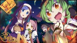 /\/\/\ :3 :d animal_ears autumn_leaves bangs basket black_nails blonde_hair blue_eyes blush braid brown_hair candy cloak eating english eyebrows eyebrows_visible_through_hair fangs fingernails food fume ghost_costume gloom_(expression) green_hair habit hair_between_eyes halloween hat head_tilt headphones highres holding holding_food jewelry jiangshi jitome lantern lollipop long_hair long_sleeves looking_back minyamo multicolored_hair nail_polish necklace night number nun open_mouth orange_eyes original parted_bangs pink_hair scarf sharp_fingernails sleeves_past_wrists slit_pupils smile stitches swirl_lollipop tree trick_or_treat twin_braids twintails yellow_scarf