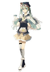 absurdres alternate_costume blue_eyes cape chocolate_(jitong) fingerless_gloves frilled_skirt frills gloves goggles goggles_on_head green_hair hat hatsune_miku highres ice_skates microphone skates skirt striped striped_legwear twintails
