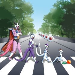 4boys 90s alien armor cape captain_ginyu character_request cooler_(dragon_ball) dragon_ball dragonball_z frieza frog horns king_cold male_focus multiple_boys muscle nature outdoors parody plant road sky street tail the_beatles walking