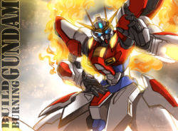 blue_eyes build_burning_gundam character_name fighting_stance fire flame glowing glowing_eyes gundam gundam_build_fighters gundam_build_fighters_try haganef mecha no_humans solo