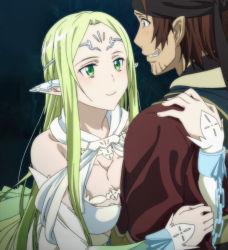 breast_press breasts brown_hair cleavage elf freyja_(sao) green_eyes green_hair klein_(sao) large_breasts screencap sword_art_online