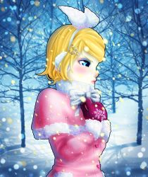absurdres bare_tree blush bow capelet coat earmuffs expressionless eyeshadow from_side gloves hair_ornament hair_ribbon hairband hairclip hairpin hands_on_own_chest highres kagamine_rin lips makeup outdoors pink_gloves pinkisch plant ribbon short_hair snow snowflakes snowing treble_clef tree upper_body vocaloid white_bow white_ribbon winter winter_clothes winter_coat