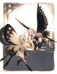 2girls aerie_(bravely_default) anne_(bravely_second) black_boots black_gloves black_legwear boots bravely_default:_flying_fairy bravely_second butterfly_wings dress elbow_gloves fairy fairy_wings gloves high_heel_boots high_heels highres junwool leotard long_hair multiple_girls open_mouth pointy_ears short_dress smile thigh_boots thighhighs white_hair wings