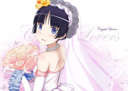 1girl alternate_hairstyle bare_shoulders black_hair blush bouquet braid bridal_veil dress edogawakid elbow_gloves flower gloves gokou_ruri gradient gradient_background jewelry looking_at_viewer mole mole_under_eye necklace ore_no_imouto_ga_konna_ni_kawaii_wake_ga_nai pearl_necklace purple_eyes short_hair smile solo strapless strapless_dress upper_body veil wedding_dress